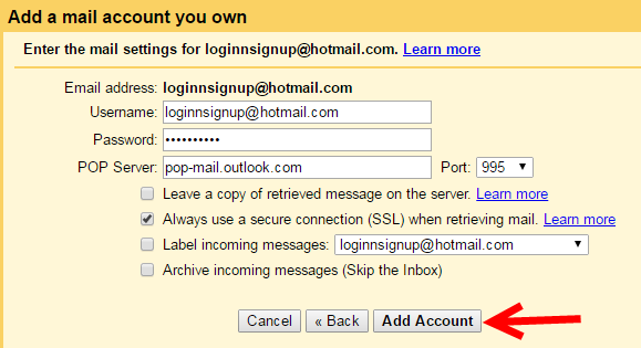 how to send mail from gmail to hotmail